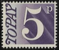 GB SG D82 1970 Due 5p mounted mint